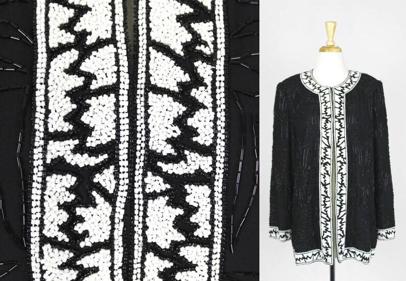bfe77bef4be Vintage Sequin Jacket XL Black White Blazer Coat Heavy Beaded