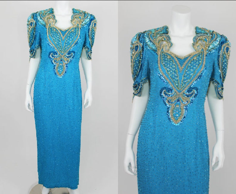 Vintage Sequin Dress Plus Size 16 Teal Blue Gold Evening Gown Formal Beaded  Silk Long