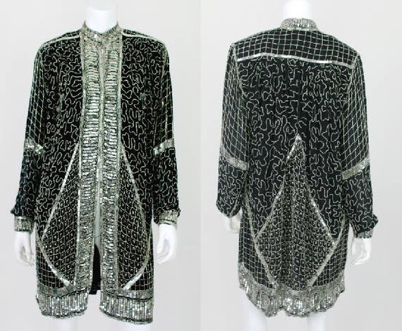 Vintage Sequin Jacket Long Kaftan Kimono Black Sil