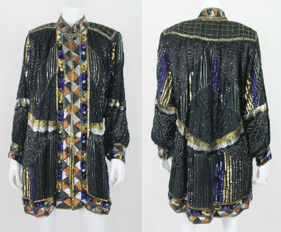 Vintage Sequin Kimono Dress Long Jacket Beaded Sil