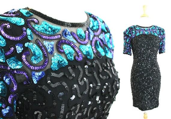 Sequin Dress Vintage Black NWT