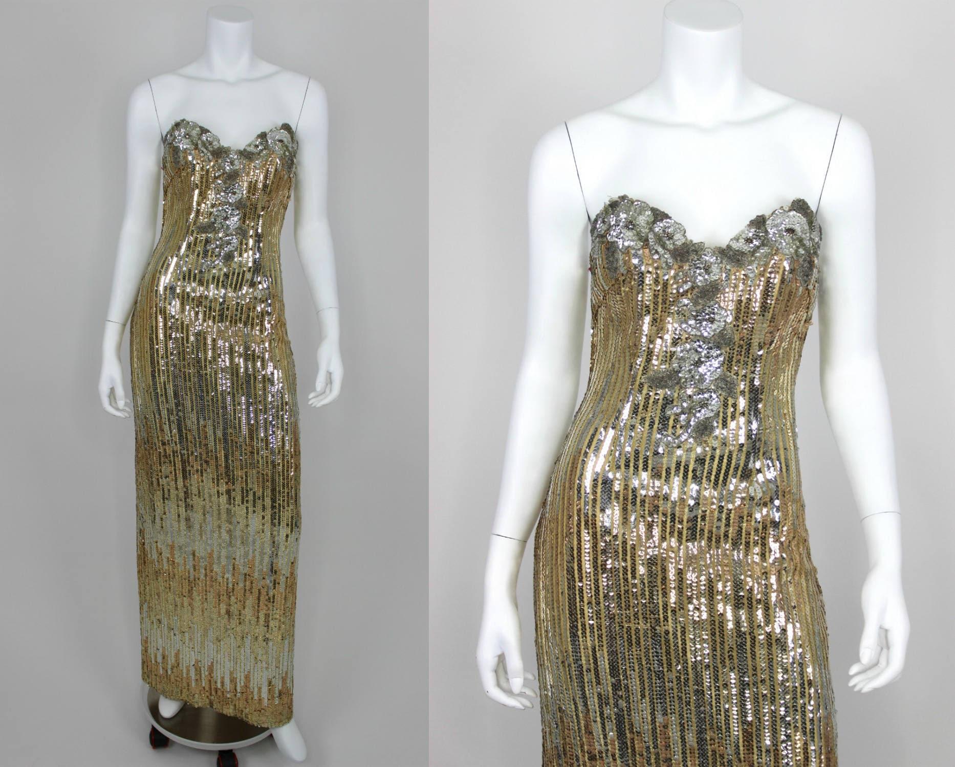 f1c7104527 Vintage Sequin Dress Gold Silver Gown Strapless Backless Split