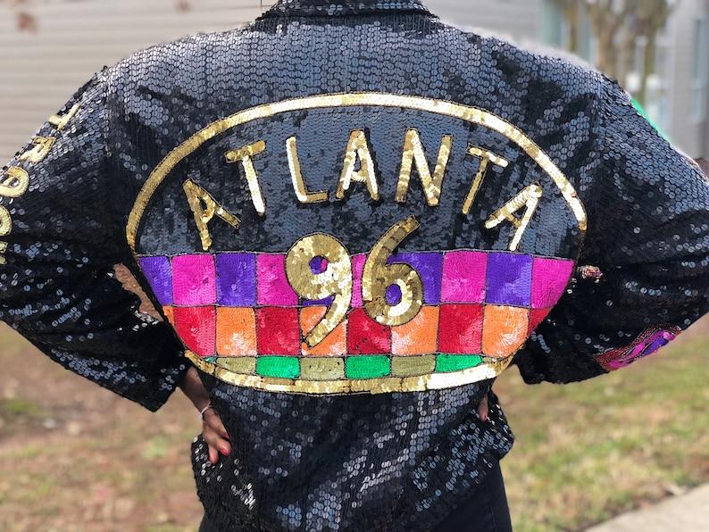 7c12107f 90s Sequin Bomber Jacket / 1996 Atlanta Olympics RARE by MODI | Etsy