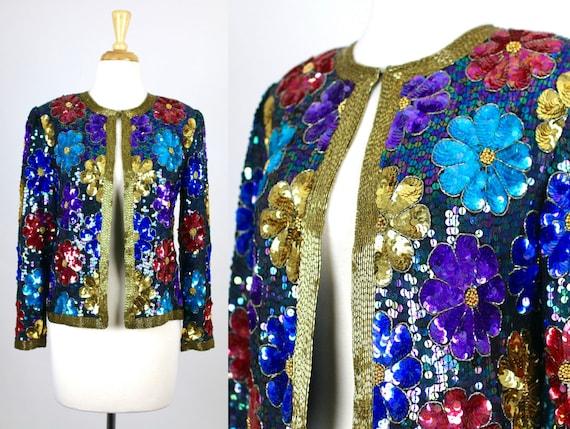 Vintage Sequin Jacket Floral Blue Colorful Retro