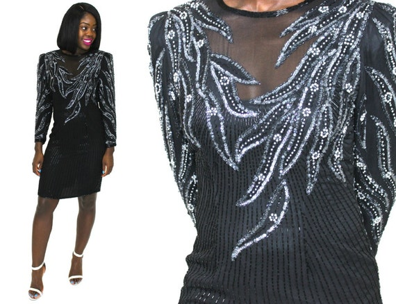 Sequin Dress Black Silk