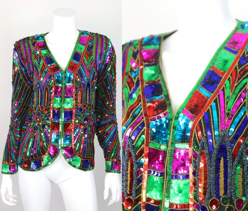 e061ef039f3 Vintage Sequin Jacket Colorful Rina Z Rainbow Small Beaded