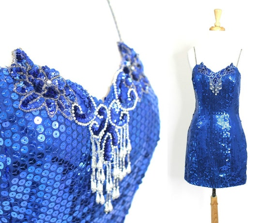 Sequin Dress Blue Short Party Fitted