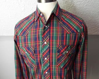 47bc9186 Vintage Long Sleeve Button Down Striped Western Snap Shirt by Sears Western  Wear