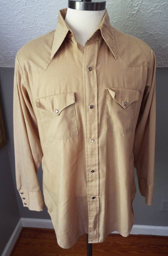 9eac1e33 Vintage Long Sleeve Button Down Tan Western Snap Shirt by | Etsy