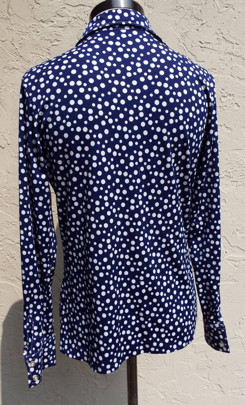 Vintage Blue and White Long Sleeve Blouse by First Edition