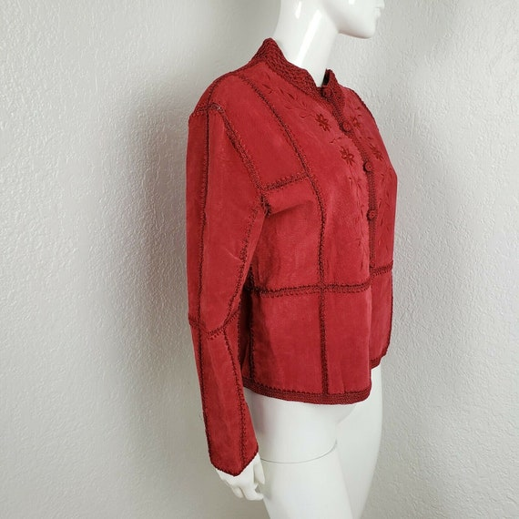 Vintage Red Leather Jacket Suede Patchwork Croche… - image 2
