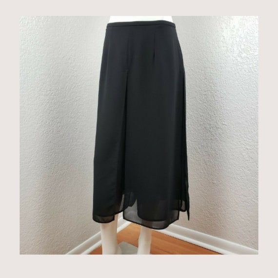 Vtg Palazzo Pants Overskirt Skirted Crop Wide Leg