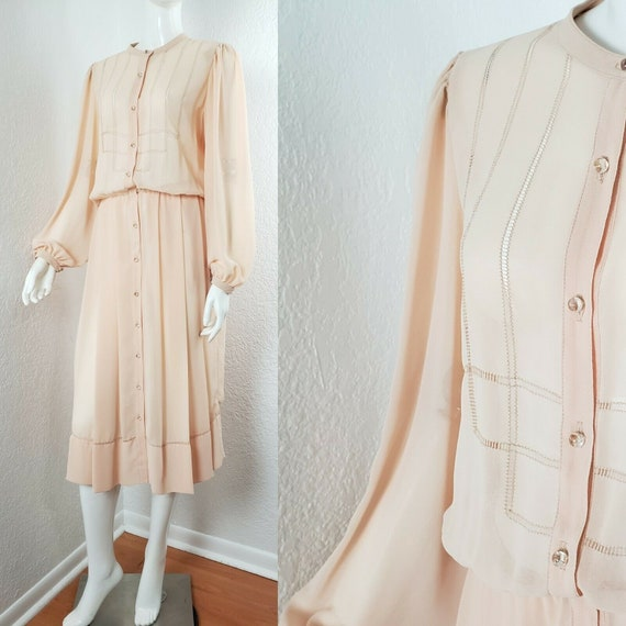 Vintage 30s Style Blush Chiffon Dress Sheer Peach