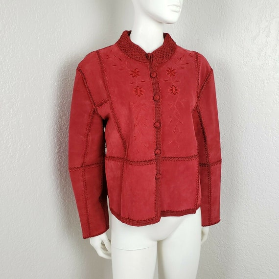 Vintage Red Leather Jacket Suede Patchwork Croche… - image 1