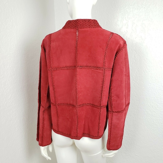 Vintage Red Leather Jacket Suede Patchwork Croche… - image 3