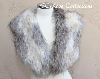 Long Luxurious Gray Beige White Fox Scarf Stole Fur Fashion Handmade USA SC Love