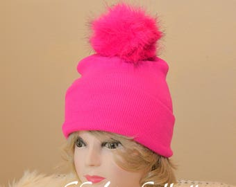 180d719f330 Fuschia Hot Pink Hat Cap Pompom Faux Fur Beanies Red White Blue Gray Black  Warm Cozy Snow Wear Women s Beanie Hats One Size Assorted Colors