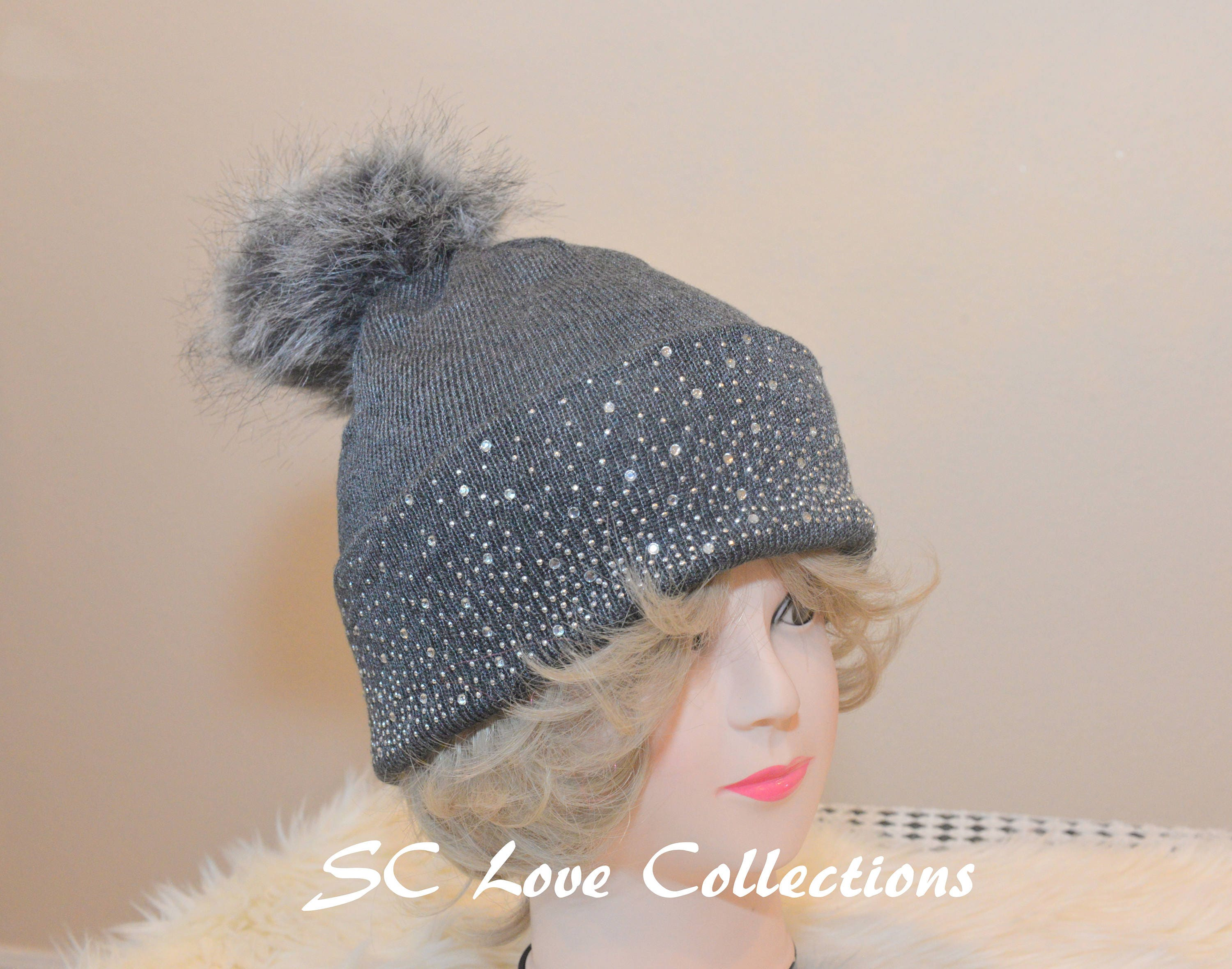 4fa0f7a9dc7 Gray Grey Winter Pompom Faux Fur Beanies Sparkles Red White