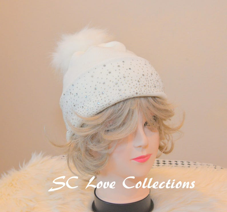 ed29922ba25 White Faux Fox Winter Pompom Faux Fur Beanies Sparkles Red