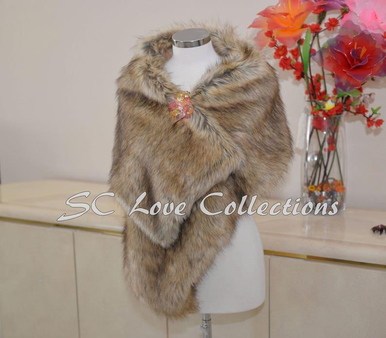 Soft Camel Tan Beige Fox Wedding Wraps Brides and Bridesmaid Wrap Elegant and Luxurious Trendy Faux Fur Wraps Large Wraps