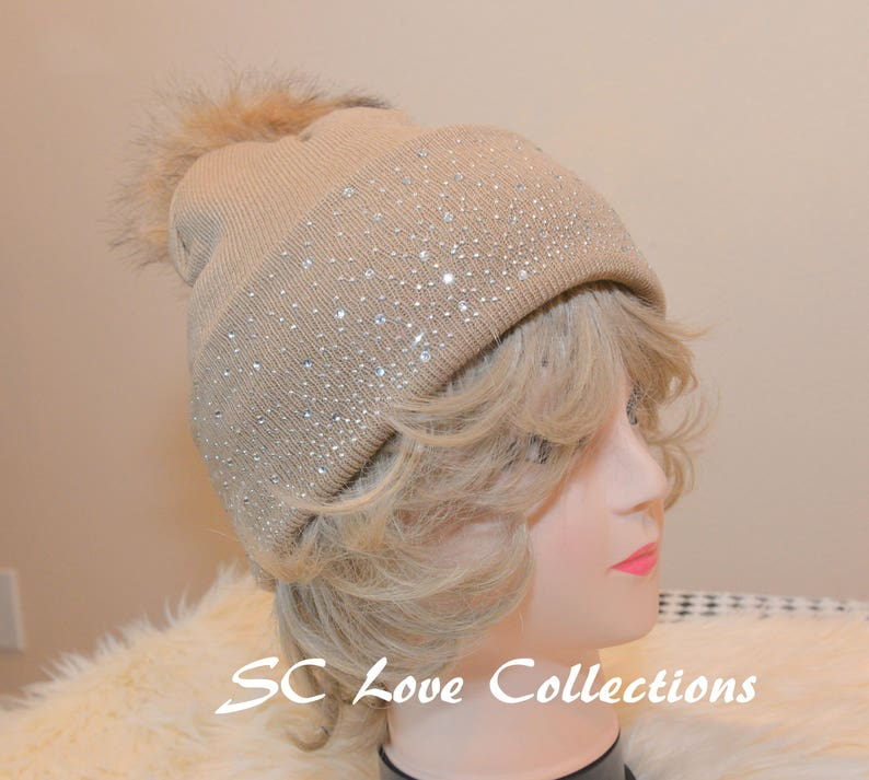 5bf764840ff Beige Winter Pompom Faux Fur Beanies Sparkles Red White Tan