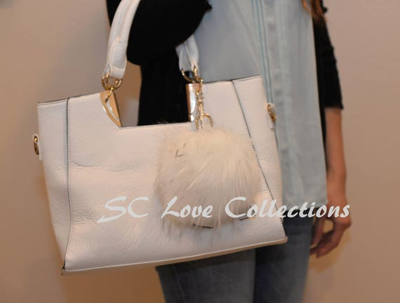 FUR POM POM Fashion Purse Backpacks Key chains Trendy Assorted   Etsy 24ca588602