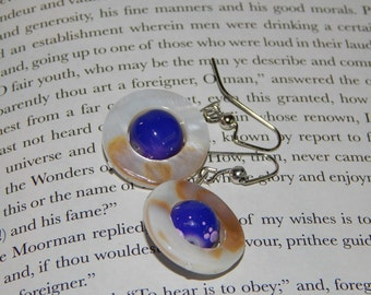 Ivory Circle with Blue and Purple Marbled Center Stone Earrings