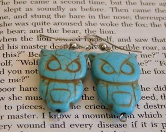 Turquoise Owl Silver Earrings