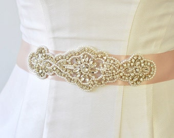 Pearls & Rhinestone bridal sash, Wedding Sash