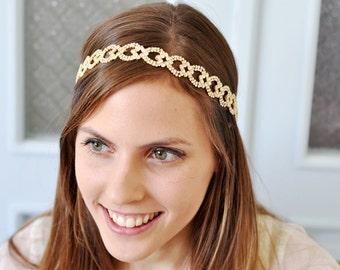 GOLD BRIDAL HEADPIECE , Gold Bridal Headband, Bridal Head piece