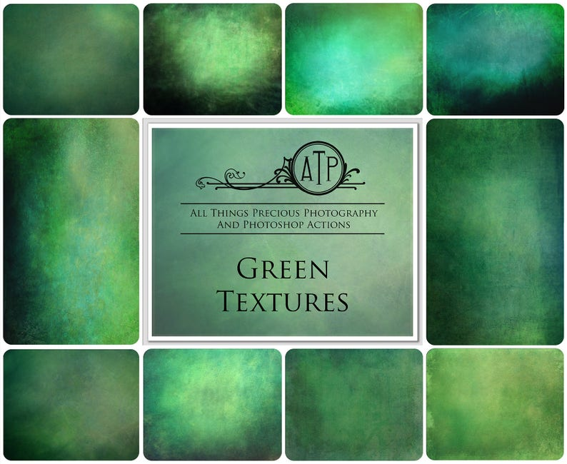 10 Fine Art TEXTURES  GREEN Set 1 / Overlays Photography image 0