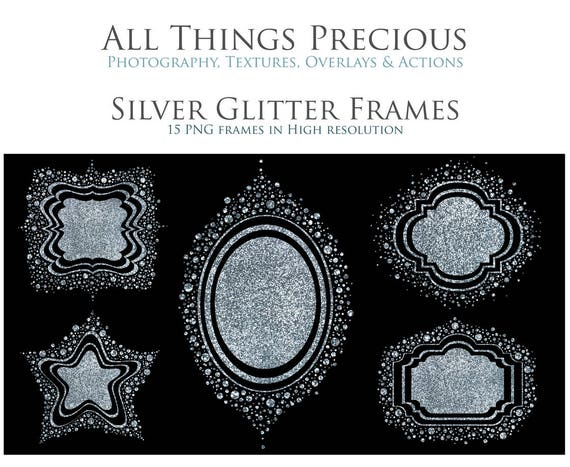 15 Fine Art Digital SILVER GLITTER PNG Frame Clipart Elements