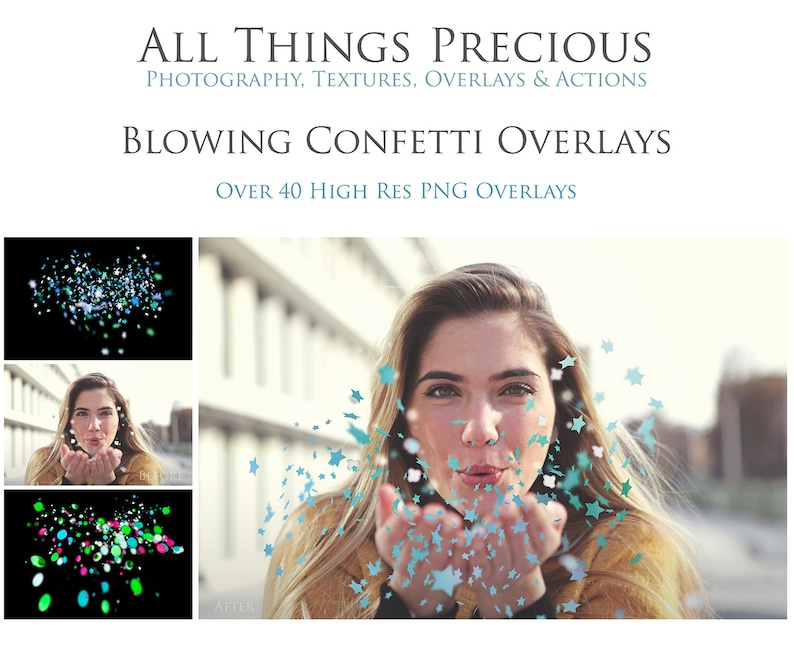 BLOWING CONFETTI Overlays / Photography Background Photoshop image 0