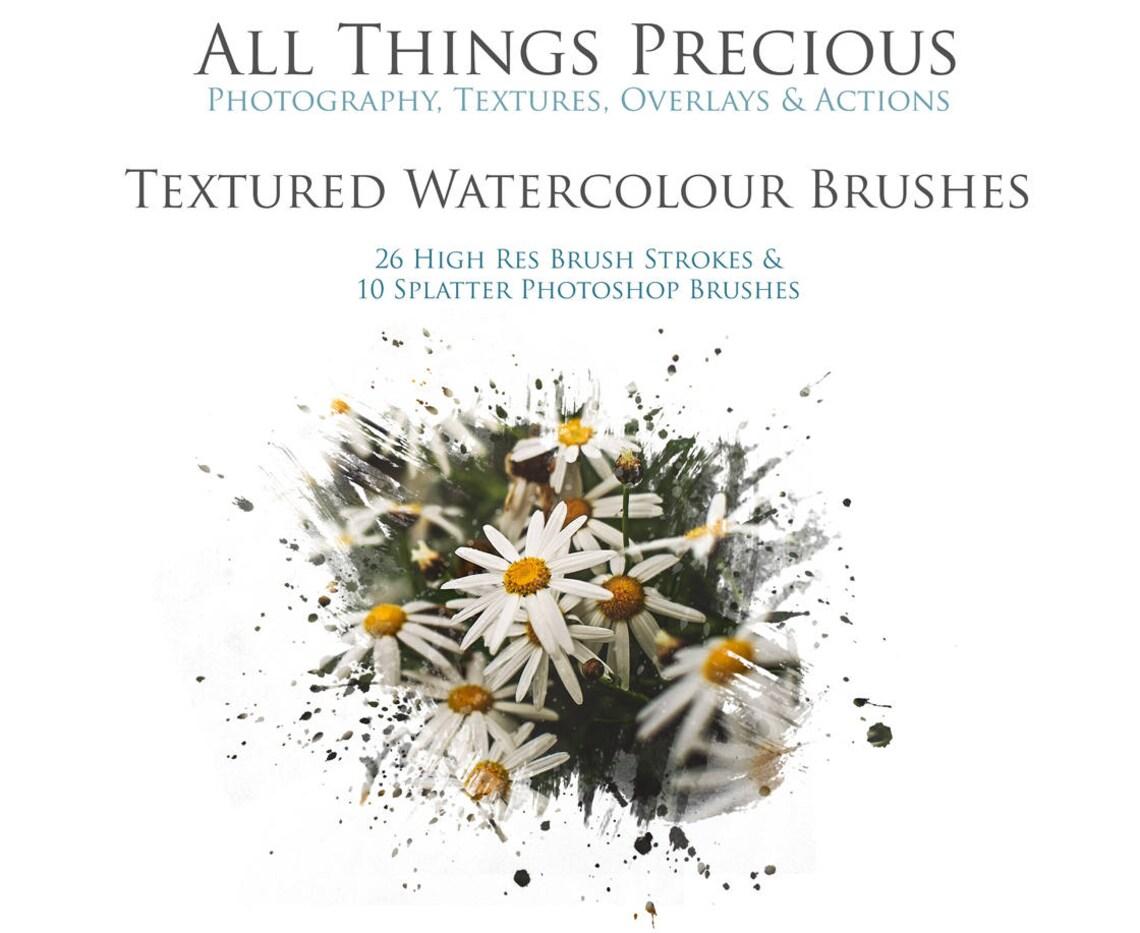 36 Fine Art Digital WATERCOLOR Photoshop BRUSHES image 0