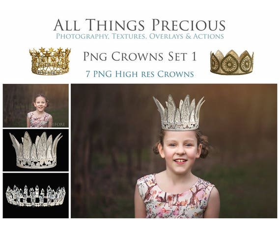 7 Digital Princess CROWN Overlays / PNG / Photography