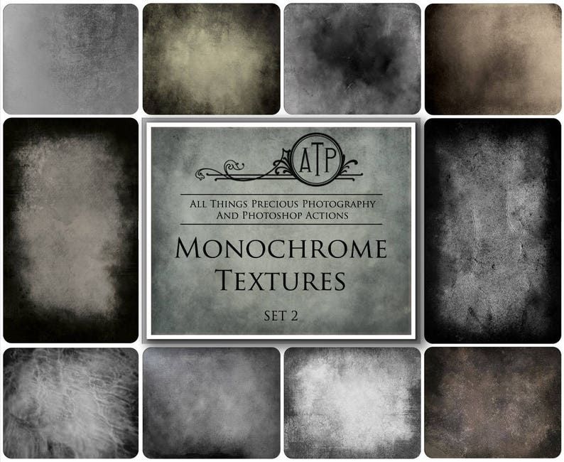 10 Fine Art TEXTURES  MONOCHROME Set 2 / Photoshop Overlays image 0