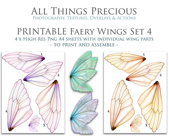 picture about Fairy Printable identified as PRINTABLE FAIRY WINGS Established 4 - Clear Overlays / Fairy