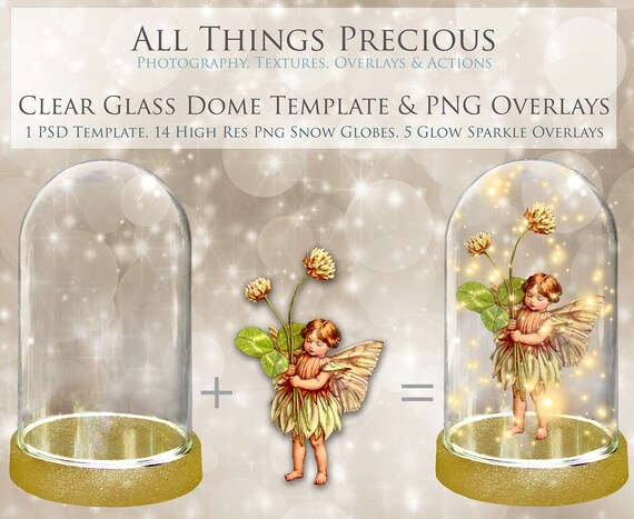 15 Clear GLASS DOME Png Overlays and PSD Template No 2