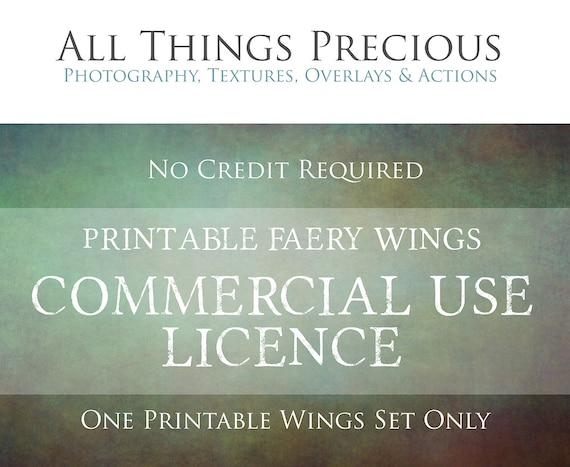 PRINTABLE Faery Wings COMMERCIAL LICENCE