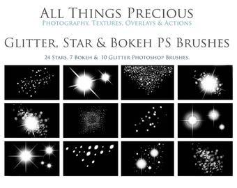 Fine Art Digital GLITTER, STAR and BOKEH Photoshop Brushes Set.
