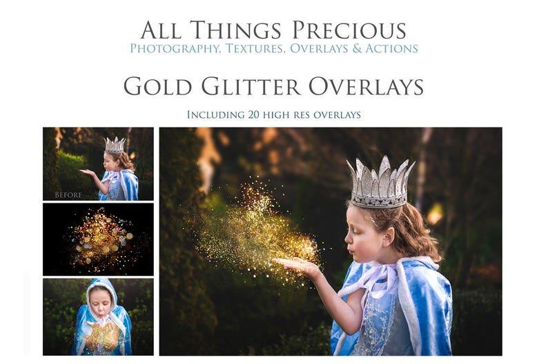 20 GOLD GLITTER Overlays / Photography Overlay Scrapbooking image 0