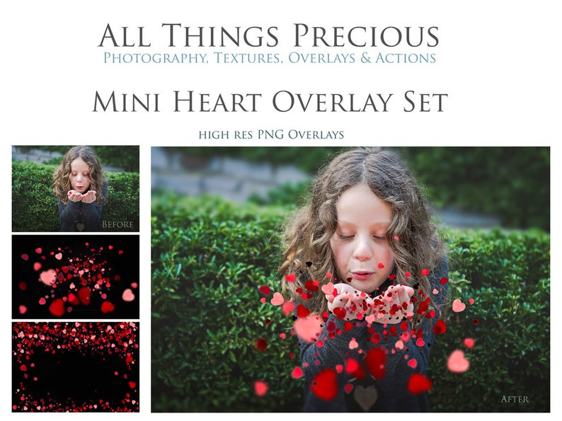 12 High Res Fine Art Digital CONFETTI HEARTS png Overlays / image 0
