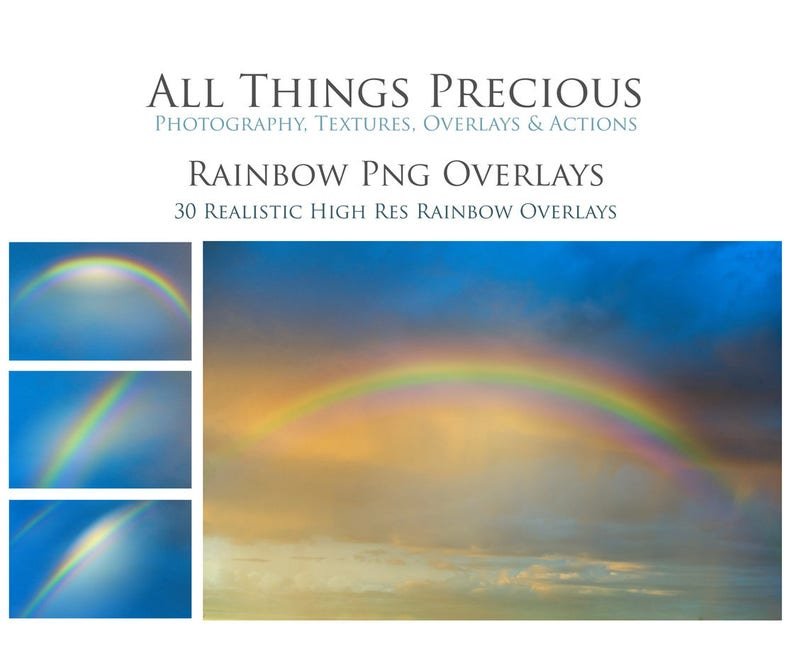 30 RAINBOW Overlays / PNG Sky Overlays Digital Scrapbooking image 0