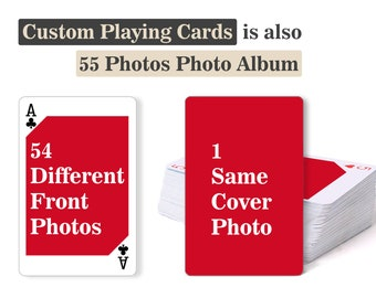 Custom Playing Cards - Personalized Playing Cards, Deck of cards, Poker, Card games, 55 Photos Album, Wedding Gift, Birthday Gift, Baby Gift