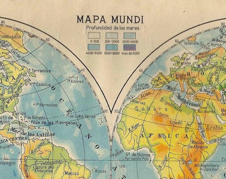 Antique Spanish World Map 1940 Spanish Double Hemisphere Etsy