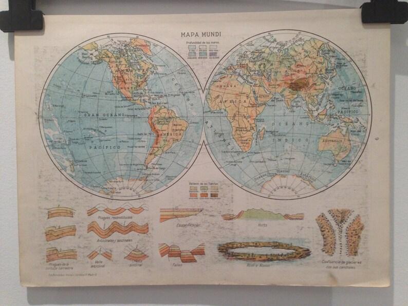 Antique spanish World Map 1939 Spanish Double Hemisphere | Etsy