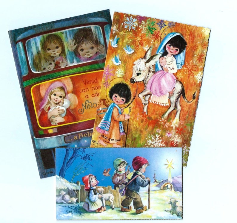 3 Vintage Christmas Greeting Card With Children Scenes 1960s Etsy