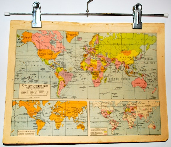 Antique spanish Major shipping routes of the world map 1940 | Etsy
