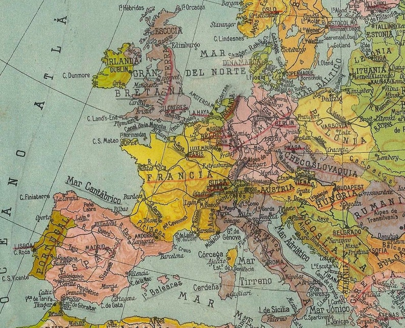 Antique spanish political map of Europe 1940 | Etsy