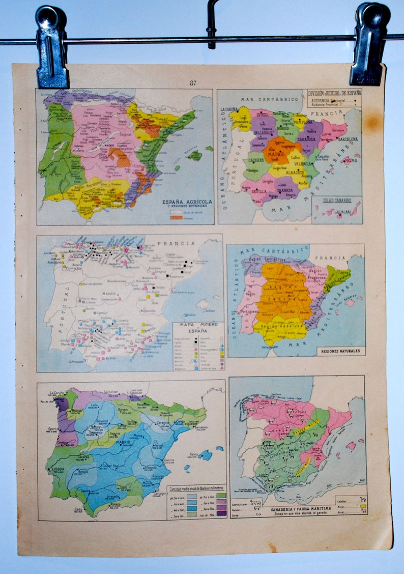 Spanish Map Of Spain.Antique Spanish Map Of Spain 1940